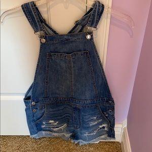 Blue jean shirt overalls